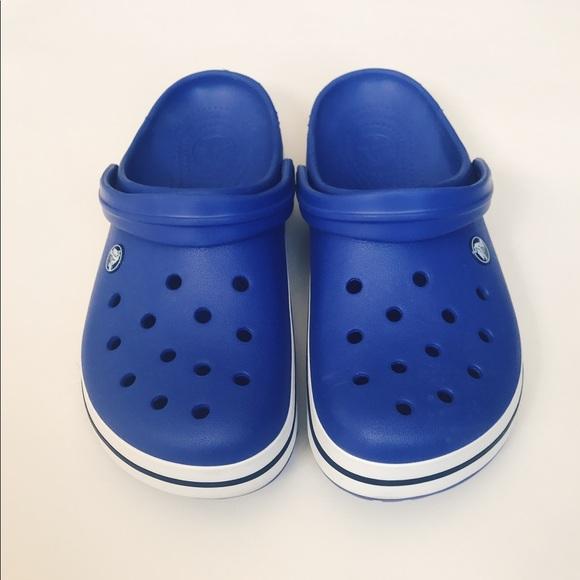 690450050 CROCS Shoes - Blue Crocs Crocband Clogs w  White Band Unisex